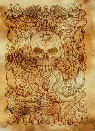 Greed. Latin word Avaritia means Avarice. Seven deadly sins concept on old paper background. Hand drawn engraved illustration, tattoo and t-shirt design, religious symbol