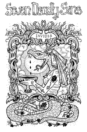 Envy. Latin word Invidia means Jealousy. Seven deadly sins concept, black and white line art. Hand drawn engraved illustration, tattoo and t-shirt design, religious symbol