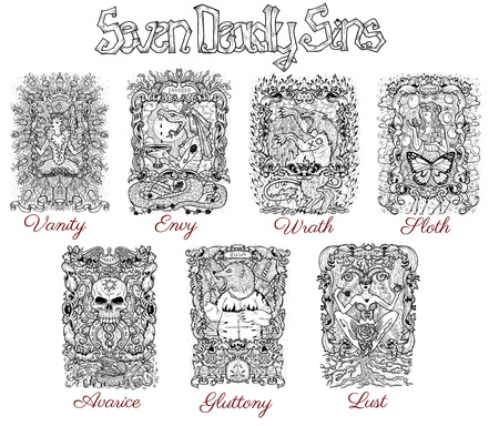 Set with seven deadly sins characters in frames, black and white line art. Hand drawn engraved illustration, tattoo and t-shirt design, religious symbol