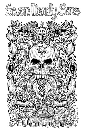 Greed. Latin word Avaritia means Avarice. Seven deadly sins concept, black and white line art. Hand drawn engraved illustration, tattoo and t-shirt design, religious symbol