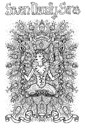 Pride. Latin word Superbia means Vanity. Seven deadly sins concept, black and white line art. Hand drawn engraved illustration, tattoo and t-shirt design, religious symbol Stock Photo