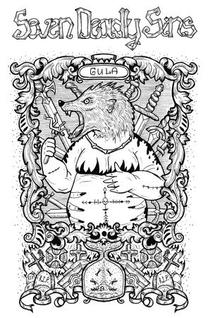 Gluttony. Latin word Gula means Overweight or Obesity. Seven deadly sins concept, black and white line art. Hand drawn engraved illustration, tattoo and t-shirt design, religious symbol