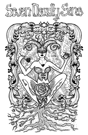 Lust. Latin word Luxuria means Passion, desire. Seven deadly sins concept, black and white line art. Hand drawn engraved illustration, tattoo and t-shirt design, religious symbol