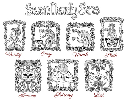 Collection with seven deadly sins concept drawings in baroque frames. Hand drawn engraved illustration, tattoo and t-shirt design, religious symbol Archivio Fotografico