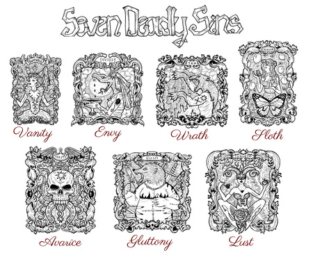 Design set with seven deadly sins in baroque frames. Hand drawn engraved illustration, tattoo and t-shirt design, religious symbol Reklamní fotografie - 105325782