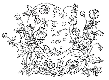 Vector drawing of funny gnome in hammock blowing bubbles in anemone flowers. Black and white cartoon clip art illustration, doodle hand drawn graphic Illustration