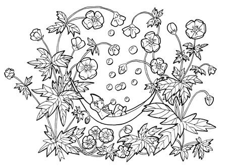 Vektorzeichnung des lustigen Gnoms in der Hängematte, die Blasen in Anemonenblumen bläst. Schwarzweiss-Karikaturclipartillustration, gezeichnete Gekritzelhandgrafik