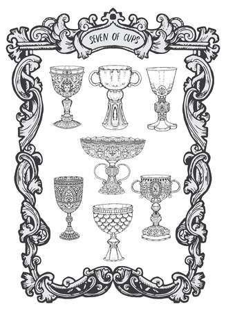 Seven of cups. Minor Arcana tarot card. The Magic Gate deck. Fantasy engraved vector illustration with occult mysterious symbols and esoteric concept Ilustracje wektorowe