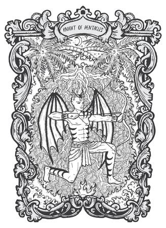 Chevalier des pentacles. Carte de tarot arcanes mineurs. Le deck Magic Gate. Illustration vectorielle gravée fantaisie avec symboles mystérieux occultes et concept ésotérique Vecteurs