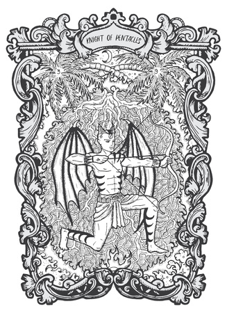 Knight of pentacles. Minor Arcana tarot card. The Magic Gate deck. Fantasy engraved vector illustration with occult mysterious symbols and esoteric concept Vector Illustration