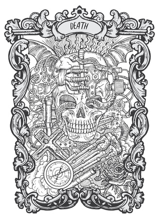Death. Major Arcana tarot card. The Magic Gate deck. Fantasy engraved vector illustration with occult mysterious symbols and esoteric concept