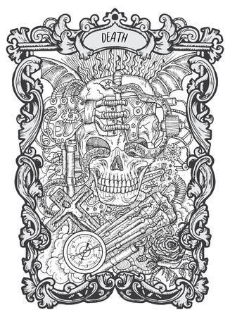 Muerte. Carta del tarot de los Arcanos Mayores. La baraja Magic Gate. Ilustración de vector grabado de fantasía con símbolos misteriosos ocultos y concepto esotérico