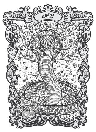 Zakochani. Karta tarota Wielkie Arkana. Talia Magiczna Brama. Fantasy grawerowane ilustracji wektorowych z okultystycznymi tajemniczymi symbolami i ezoteryczną koncepcją