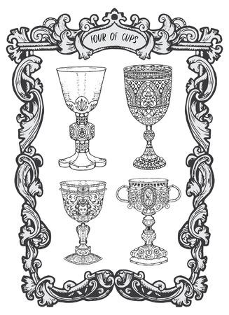 Quatre de tasses. Carte de tarot arcanes mineurs. Le deck Magic Gate. Illustration vectorielle gravée fantaisie avec symboles mystérieux occultes et concept ésotérique Vecteurs