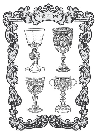Four of cups. Minor Arcana tarot card. The Magic Gate deck. Fantasy engraved vector illustration with occult mysterious symbols and esoteric concept Illustration