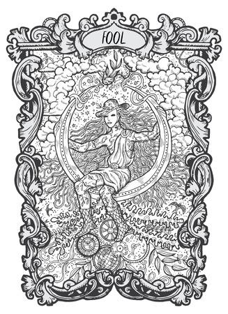 Engañar. Carta del tarot de los Arcanos Mayores. La baraja Magic Gate. Ilustración de fantasía grabada con símbolos misteriosos ocultos y concepto esotérico Ilustración de vector