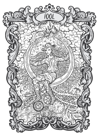 Fool. Major Arcana tarot card. The Magic Gate deck. Fantasy engraved   illustration with occult mysterious symbols and esoteric concept Vettoriali