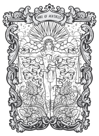 Page of pentacles. Minor Arcana tarot card. The Magic Gate deck.Fantasy engraved  illustration with occult mysterious symbols and esoteric concept