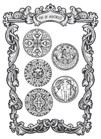 Five of pentacles. Minor Arcana tarot card. The Magic Gate deck.Fantasy engraved illustration with occult mysterious symbols and esoteric concept