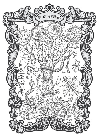 Ace of pentacles. Minor Arcana tarot card. The Magic Gate deck.Fantasy engraved  illustration with occult mysterious symbols and esoteric concept