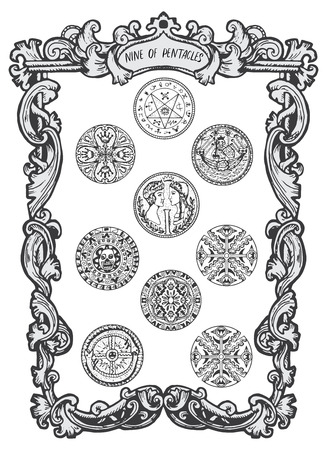 Nine of pentacles. Minor Arcana tarot card. The Magic Gate deck.Fantasy engraved illustration with occult mysterious symbols and esoteric concept