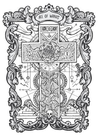As de baguettes. Carte de tarot des arcanes mineurs. Le deck Magic Gate. Illustration gravée de fantaisie avec symboles mystérieux occultes et concept ésotérique