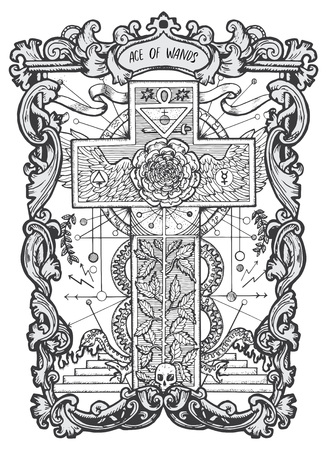 Ace of wands. Minor Arcana tarot card. The Magic Gate deck. Fantasy engraved  illustration with occult mysterious symbols and esoteric concept