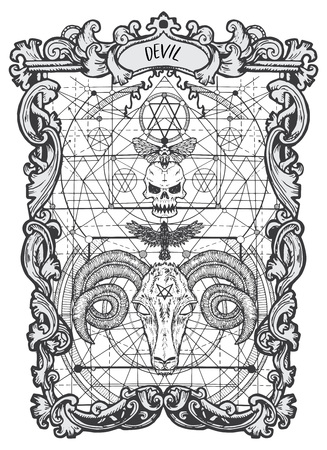 Diavolo. Carta dei Tarocchi Arcani Maggiori. Il mazzo Magic Gate. Fantasy illustrazione incisa con misteriosi simboli occulti e concetto esoterico