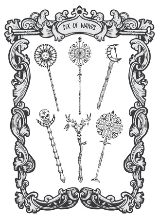 Six of wands. Minor Arcana tarot card. The Magic Gate deck.Fantasy engraved  illustration with occult mysterious symbols and esoteric concept