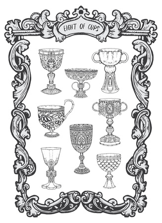 Eight of cups. Minor Arcana tarot card. The Magic Gate deck.Fantasy engraved  illustration with occult mysterious symbols and esoteric conceptoccult mysterious symbols and esoteric concept