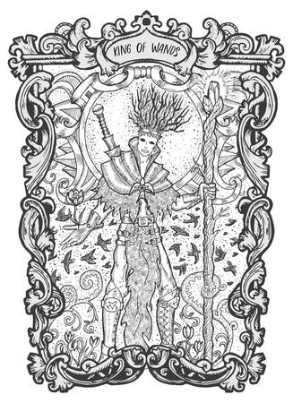 Rey de varitas. Carta de tarot arcanos menores. La baraja Magic Gate. Ilustración de vector grabado de fantasía con símbolos misteriosos ocultos y concepto esotérico
