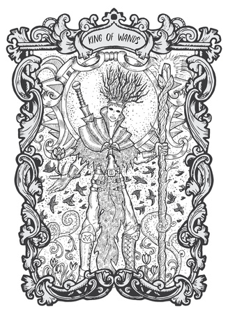 King of wands. Minor Arcana tarot card. The Magic Gate deck. Fantasy engraved vector illustration with occult mysterious symbols and esoteric concept