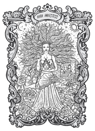 High Priestess. Major Arcana tarot card. The Magic Gate deck. Fantasy engraved vector illustration with occult mysterious symbols and esoteric concept Çizim