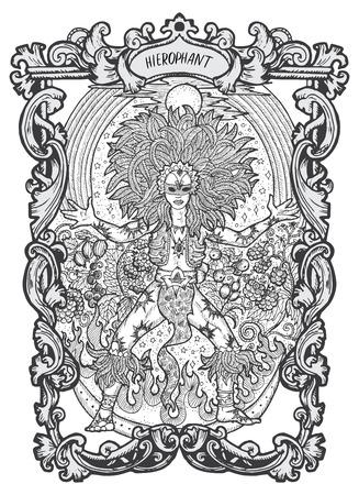 Hierofante. Carta del tarot de los Arcanos Mayores. La baraja Magic Gate. Ilustración de vector grabado de fantasía con símbolos misteriosos ocultos y concepto esotérico