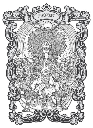 Hierophant. Major Arcana tarot card. The Magic Gate deck. Fantasy engraved vector illustration with occult mysterious symbols and esoteric concept