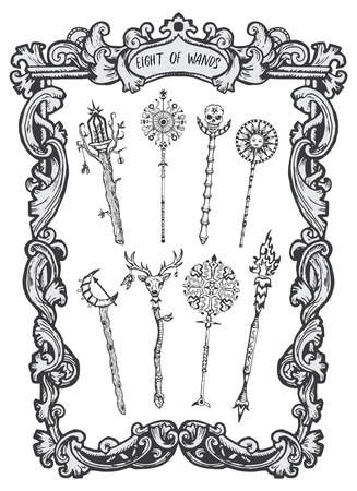 Eight of wands. Minor Arcana tarot card. The Magic Gate deck. Fantasy engraved vector illustration with occult mysterious symbols and esoteric concept