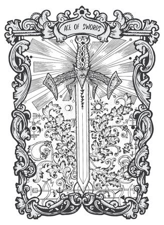Ace of swords. Minor Arcana tarot card. The Magic Gate deck. Fantasy engraved vector illustration with occult mysterious symbols and esoteric concept