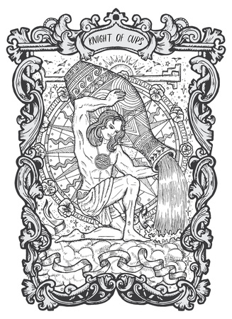 Knight of cups. Minor Arcana tarot card. The Magic Gate deck. Fantasy engraved vector illustration with occult mysterious symbols and esoteric concept