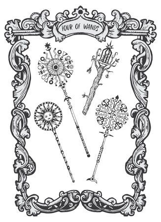Cztery różdżki. Mniejsza karta tarota Arkana. Talia Magiczna Brama. Fantasy grawerowane ilustracji wektorowych z okultystycznymi tajemniczymi symbolami i ezoteryczną koncepcją