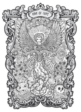 Rey de copas. Carta de tarot arcanos menores. La baraja Magic Gate. Ilustración de vector grabado de fantasía con símbolos misteriosos ocultos y concepto esotérico