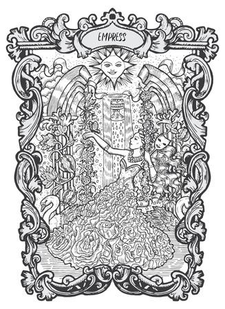 Empereur. Carte de tarot des arcanes majeurs. Le deck Magic Gate. Illustration vectorielle gravée fantaisie avec symboles mystérieux occultes et concept ésotérique Vecteurs