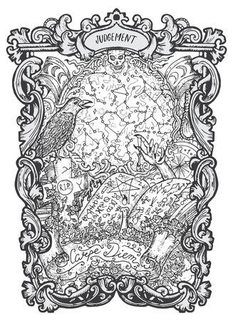 Monde. Carte de tarot des arcanes majeurs. Le deck Magic Gate. Illustration vectorielle gravée fantaisie avec symboles mystérieux occultes et concept ésotérique Vecteurs