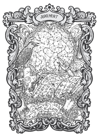 World. Major Arcana tarot card. The Magic Gate deck. Fantasy engraved vector illustration with occult mysterious symbols and esoteric concept Vettoriali