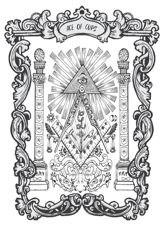 Ace of cups. Minor Arcana tarot card. The Magic Gate deck. Fantasy engraved vector illustration with occult mysterious symbols and esoteric concept
