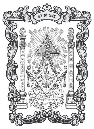 As pucharów. Mniejsza karta tarota Arkana. Talia Magiczna Brama. Fantasy grawerowane ilustracji wektorowych z okultystycznymi tajemniczymi symbolami i ezoteryczną koncepcją