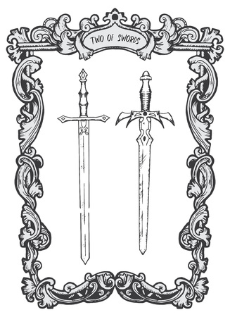 Two of swords. Minor Arcana tarot card. The Magic Gate deck. Fantasy engraved vector illustration with occult mysterious symbols and esoteric concept