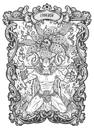 Emperor. Major Arcana tarot card. The Magic Gate deck. Fantasy engraved vector illustration with occult mysterious symbols and esoteric concept