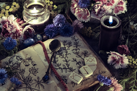 Still life with old book with botanical drawing, black candle and flowers in mystic light. Mystic background with ritual esoteric objects, occult, fortune telling and halloween concept Banco de Imagens