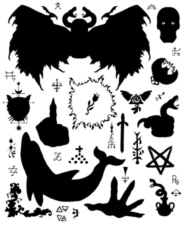 Design set with silhouettes of winged demon, dolphin, pentagram and mystic symbols. Esoteric, occult and Halloween concept with sacred geometry elements, graphic vector illustrations for music album cover, t-shirts