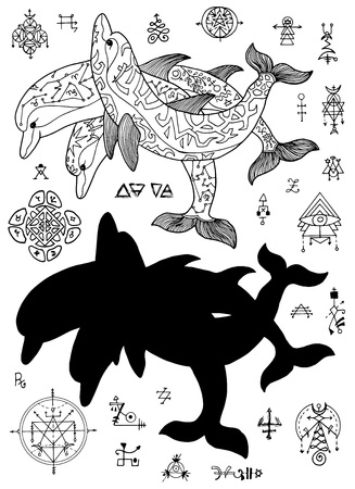 Design set with silhouettes of dolphins and mystic abstract symbols on white. Esoteric, occult and Halloween concept with sacred geometry elements, graphic vector illustrations for music album cover, t-shirts